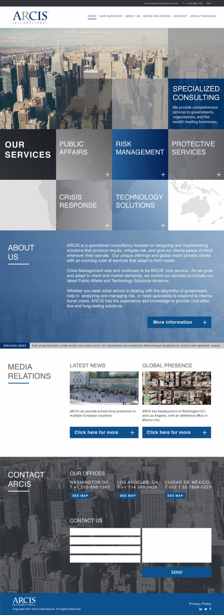 Diseño web responsiva UX/UI Arcis International